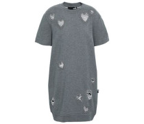 Distressed Embroidered French Cotton-terry Mini Dress Gray
