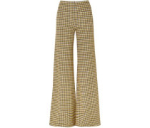 Luc Houndstooth Tweed Wide-leg Pants Midnight Blue Size 0