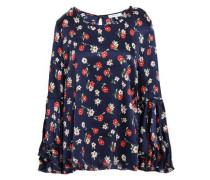 Fluted Floral-print Silk-blend Satin Blouse Navy