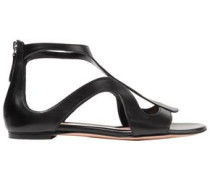 Cutout Leather Sandals Black