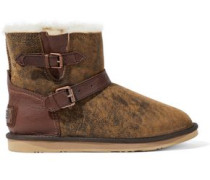 Buckled Leather-trimmed Burnished Shearling Ankle Boots Camel
