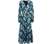 Solt Wrap-effect Printed Silk-twill Maxi Dress Storm Blue Size 12
