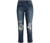 Faded low-rise slim-leg jeans