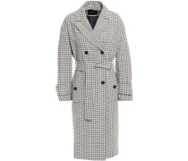 Gessia Checked Woven Trench Coat Beige