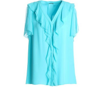 Opaline Ruffle-trimmed Silk Crepe De Chine Blouse Turquoise
