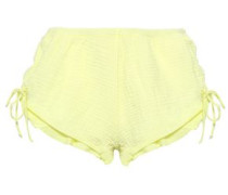 Lucia Tie-detailed Cotton-gauze Pajama Shorts Chartreuse