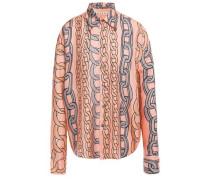 Woman Oversized Printed Silk-twill Shirt Peach
