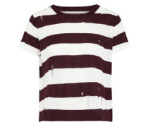 Distressed Striped Stretch-knit T-shirt Merlot