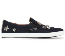 Embellished Patent Leather-trimmed Wool Slip-on Sneakers Navy