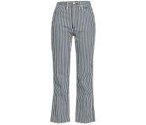 Striped High-rise Straight-leg Jeans Navy  3
