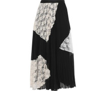 Corded Lace-paneled Pleated Gauze Maxi Skirt Black