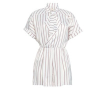 Bow-detailed Striped Crepe Playsuit White