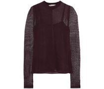 Paneled crochet-knit top
