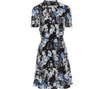 Bow-embellished floral-print silk dress