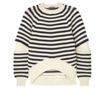 Woman Zip-embellished Striped Wool Sweater Ivory