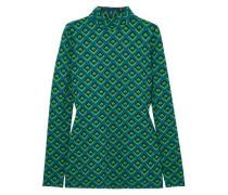 Jacquard-knit Turtleneck Top Teal