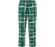 Printed Cotton And Flax-blend Slim-leg Pants Emerald