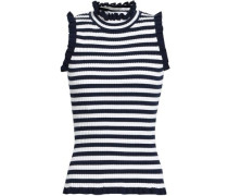 Ruffle-trimmed Ribbed-knit Top Navy