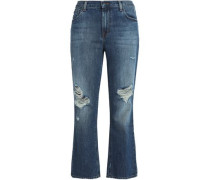 Aubrie Distressed High-rise Kick-flare Jeans Mid Denim  3