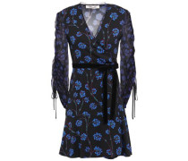 Velvet-trimmed Printed Crepe And Georgette Mini Dress Black Size 00