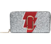 Glittered, Textured And Snake-effect Leather Wallet Silver Size --