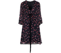 Bow-embellished Floral-print Silk-georgette Mini Dress Black