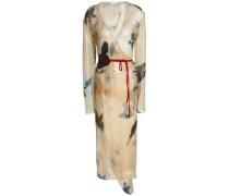 Printed silk-blend voile midi wrap dress