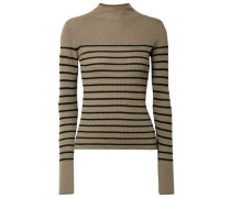 Striped Ribbed-knit Cashmere Turtleneck Sweater Army Green