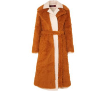 Woman Mamie Layered Faux Shearling And Cotton-canvas Trench Coat Camel