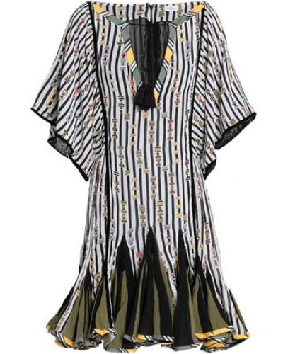 Tasseled printed silk-chiffon mini dress