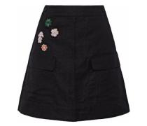 Floral-appliquéd Cady Mini Skirt Black
