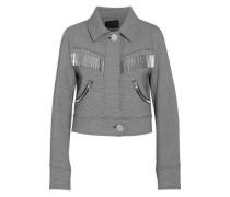 Metallic Fringe-trimmed Houndstooth Cady Jacket Black