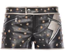 Studded Leather Shorts Black