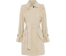 Gila Ruffle-trimmed Cotton-blend Twill Trench Coat Beige