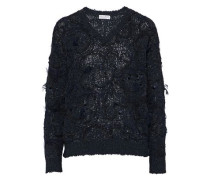 Embellished embroidered open-knit sweater