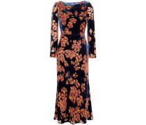 Floral-print Velvet Midi Dress Midnight Blue Size 12