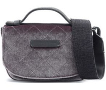 Leather-trimmed quilted velvet shoulder bag
