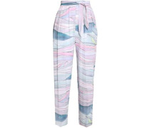 Cropped printed gauze pants