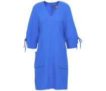 Bow-detailed Wool-blend Crepe Mini Dress Cobalt Blue