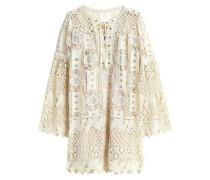 Lace-up guipure lace mini dress
