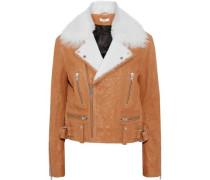 Textured-leather biker jacket