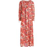 Gathered printed cotton maxi dress