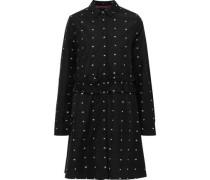 Embroidered Cotton-poplin Mini Shirt Dress Black
