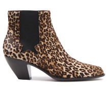 Woman Leopard-print Calf Hair Ankle Boots Animal Print