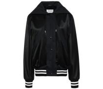 Leather-paneled Satin Hooded Bomber Jacket Black