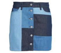 Patchwork-effect Denim Mini Skirt Dark Denim  4
