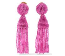Gold-tone Beaded Tassel Clip Earrings Magenta Size --