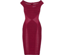 Crochet knit-paneled bandage dress