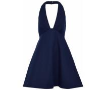 Fluted stretch-cotton halterneck dress