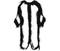Feather-embellished Cutout Jersey Mini Dress Black Size ONESIZE